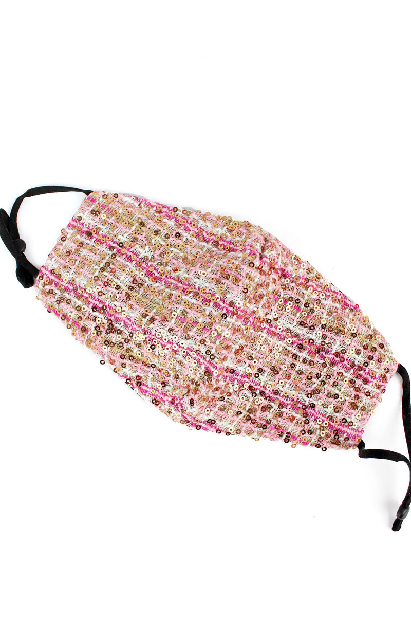 Shimmering Morning Pink Fashion Face Mask with Quilted Filter Pocket