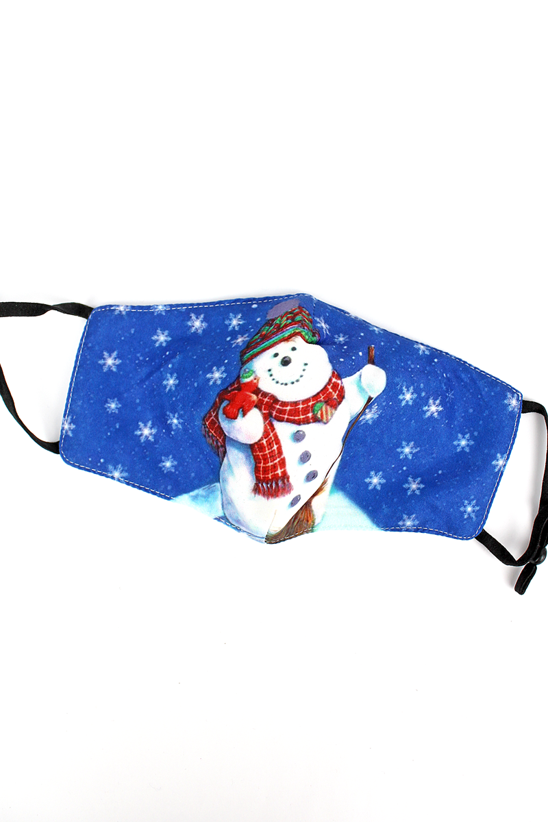 Kid's Winter Snowman Fashion Face Mask with Quilted Filter Pocket