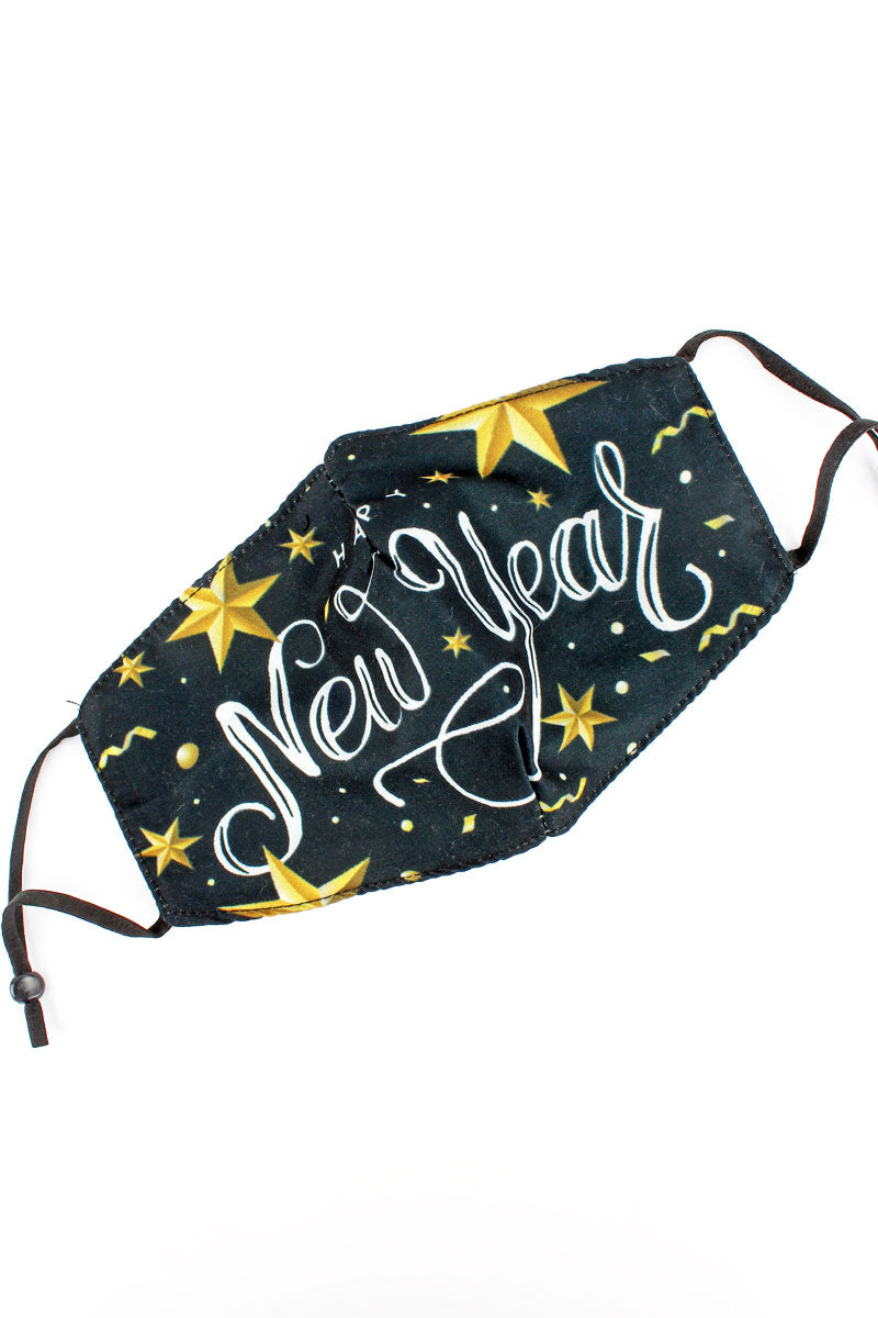 Happy New Year Gold Star Fashion Face Mask with Quilted Filter Pocket