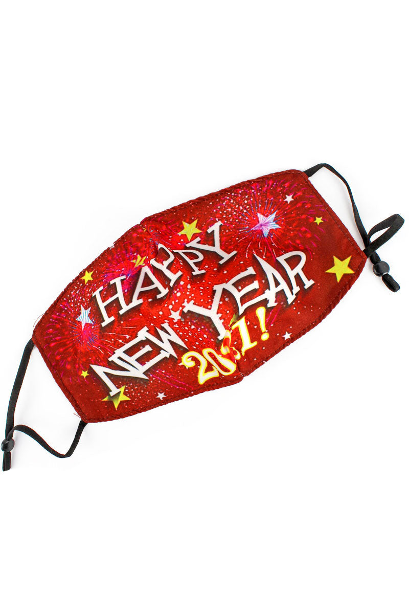 Burgundy Fireworks Happy New Year 2021 Fashion Face Mask with Quilted Filter Pocket
