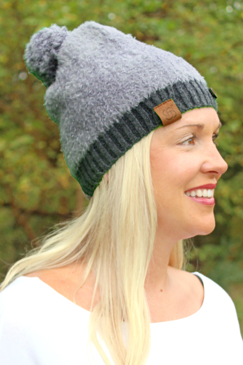 Vermont Winter Pom Pom Beanie, Charcoal