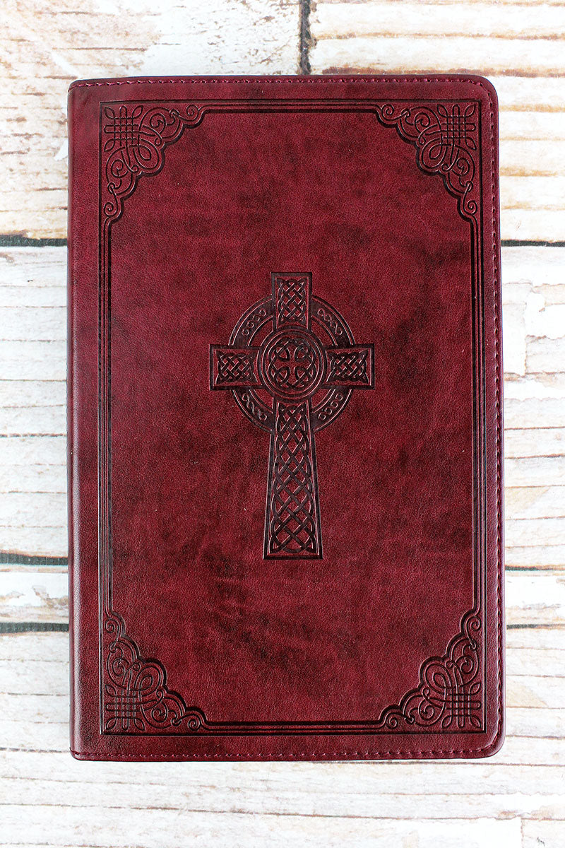 Celtic Cross Dark Brown Slimline LuxLeather Journal