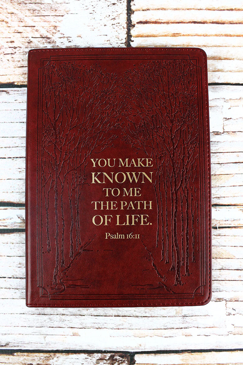 Psalm 16:11 'Path Of Life' Brown Slimline LuxLeather Journal