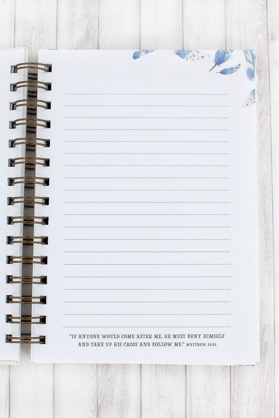 Psalm 91:4 Feather Large Wirebound Journal