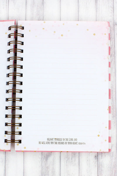 Psalm 139:14 Pink Striped Large Wirebound Journal