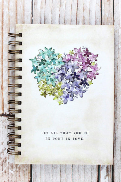 'Let All That You Do...' Floral Heart Hardcover Spiral Journal