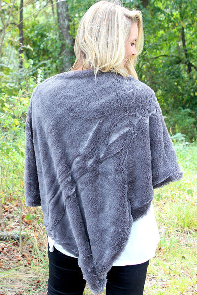 Lush Winter Faux Fur Poncho, Gray