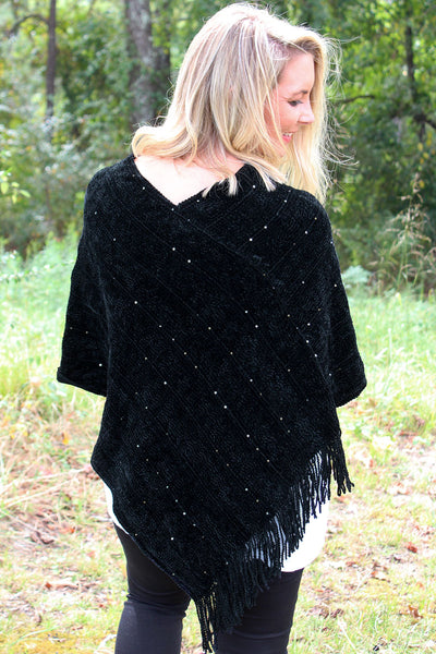 Sweet Threads Chenille Poncho, Black