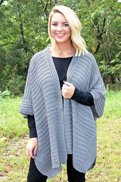 Tres Chic Cable Knit Ruana, Gray