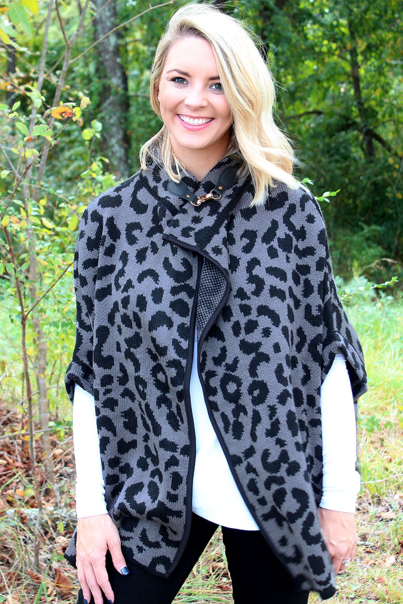 My Time Is Meow Sweater Cape, Black