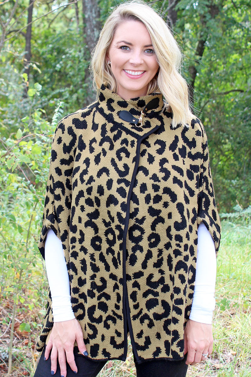 My Time Is Meow Sweater Cape, Camel