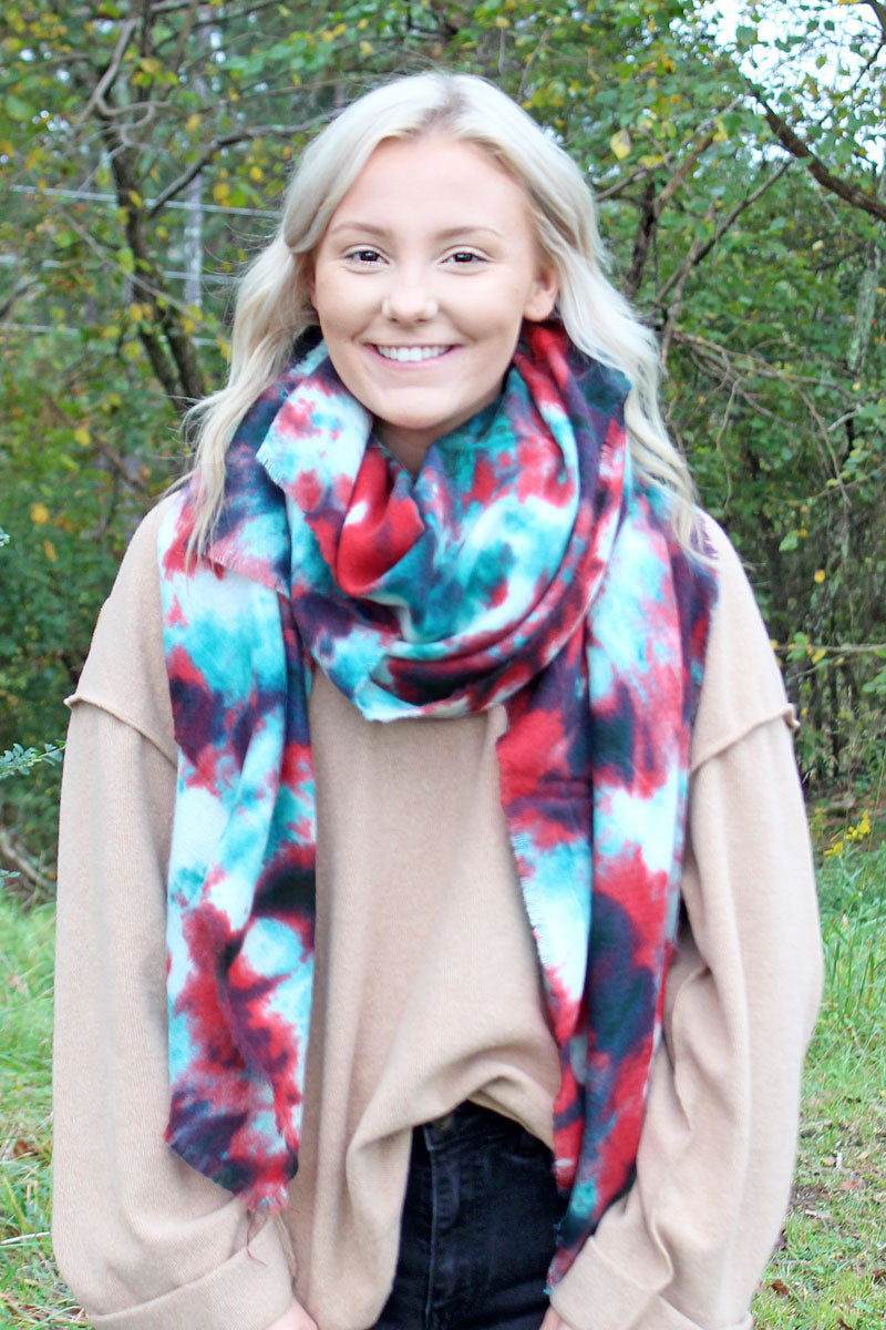 Dancing Queen Long Scarf, Navy and Green