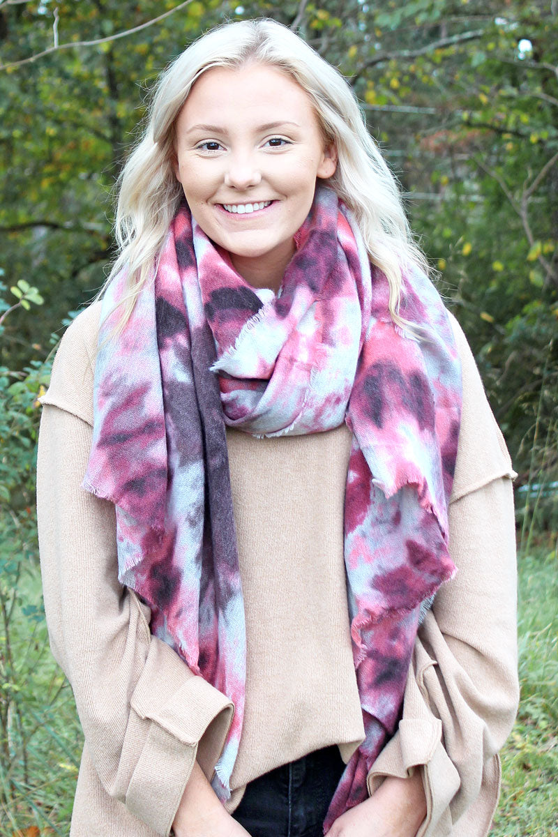 Dancing Queen Long Scarf, Pink and Gray