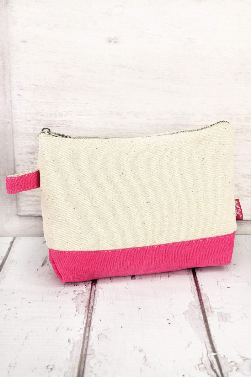 NGIL Canvas Cosmetic Bag with Hot Pink Trim