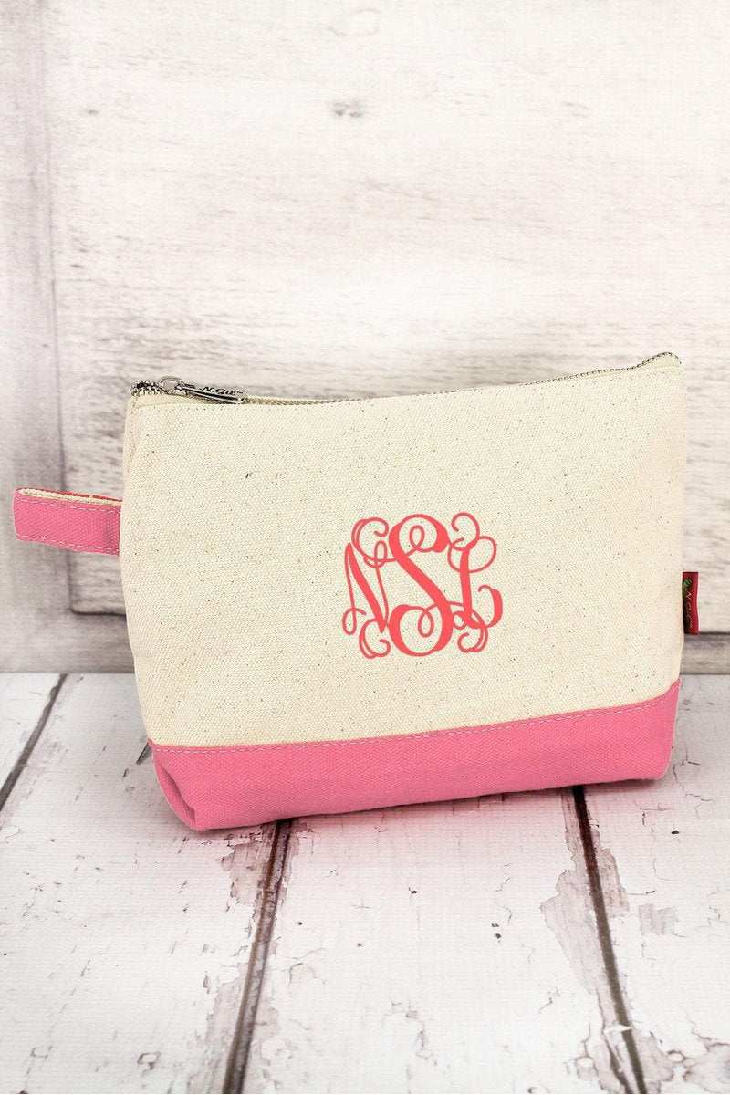 NGIL Canvas Cosmetic Bag with Coral Trim