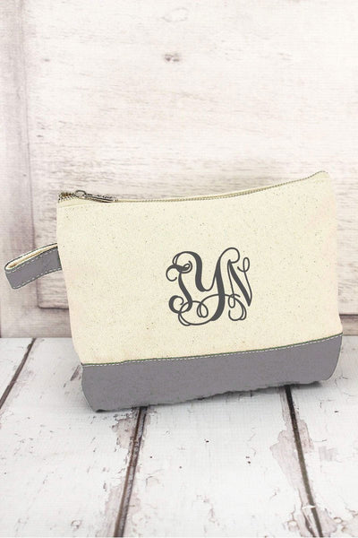 Canvas Cosmetic Bag with Gray Trim