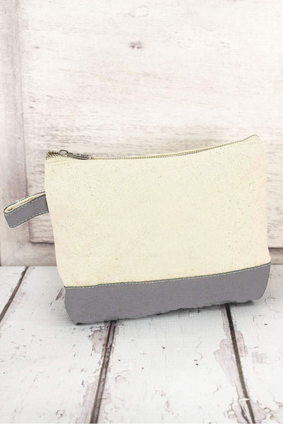 NGIL Canvas Cosmetic Bag with Gray Trim
