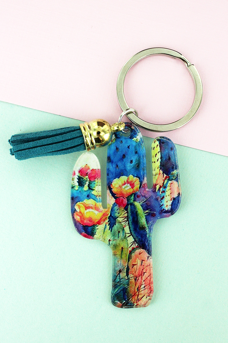 Desert Blooms Cactus with Teal Tassel Charm Keychain