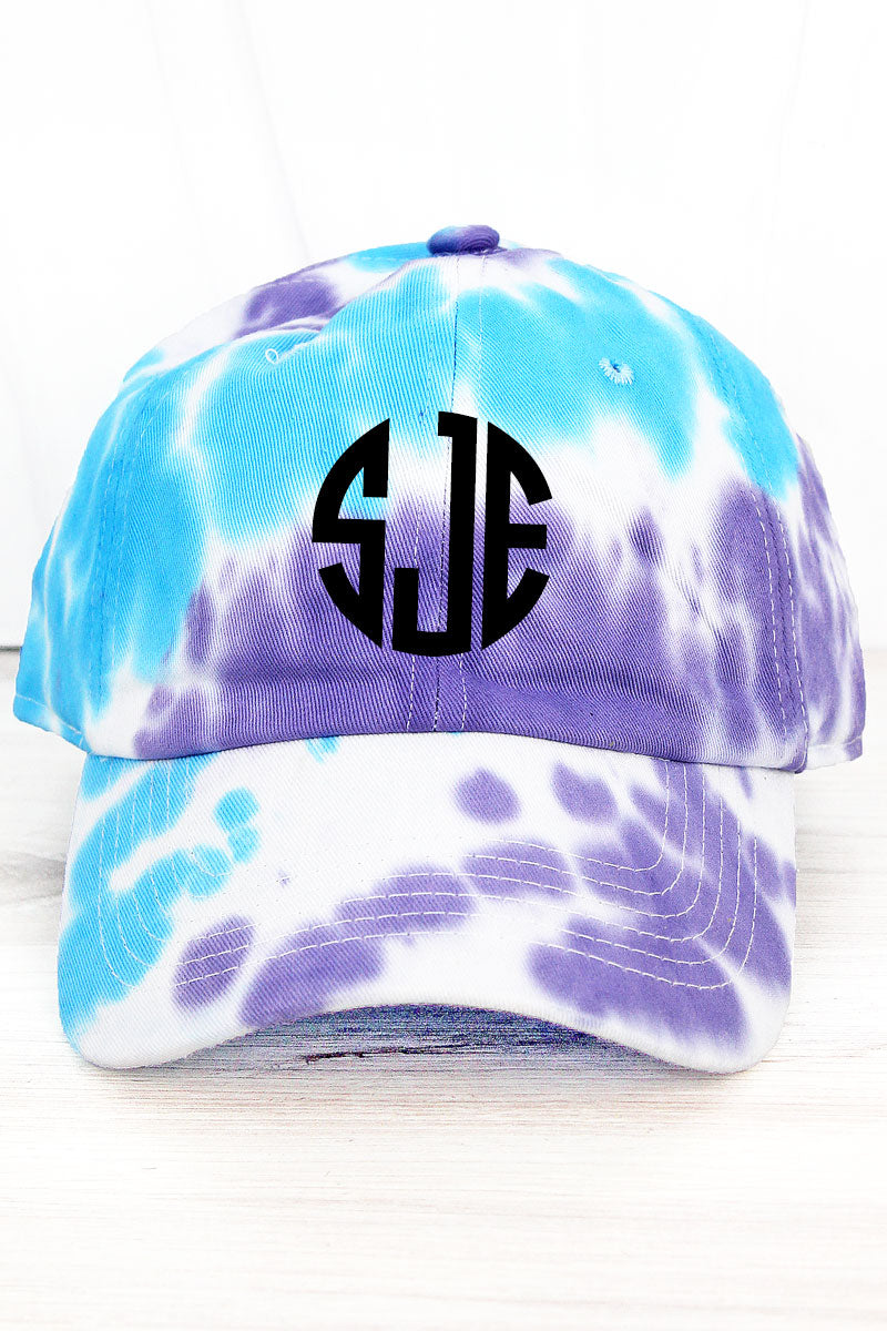 Aqua and Purple Tie Dye Cap