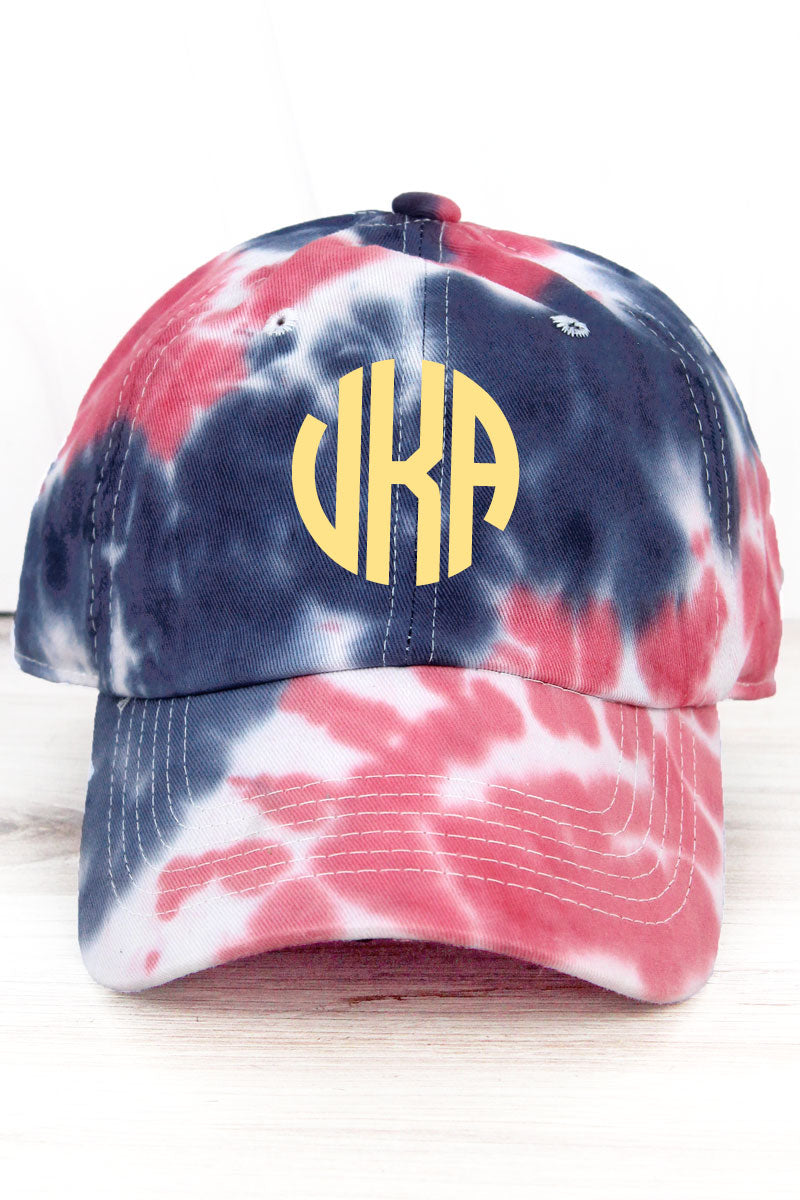 Red and Navy Tie Dye Cap