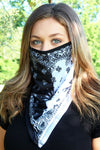 Black and White Split Bandana Face Mask Neck Gaiter