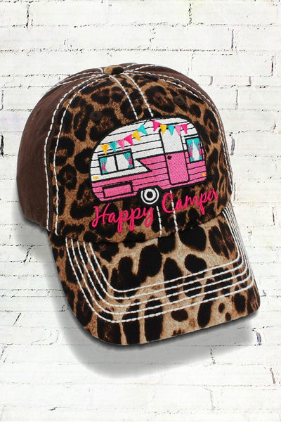 Leopard and Brown 'Happy Camper' Cap