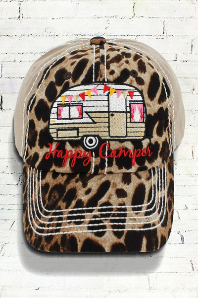 Leopard and Khaki 'Happy Camper' Cap