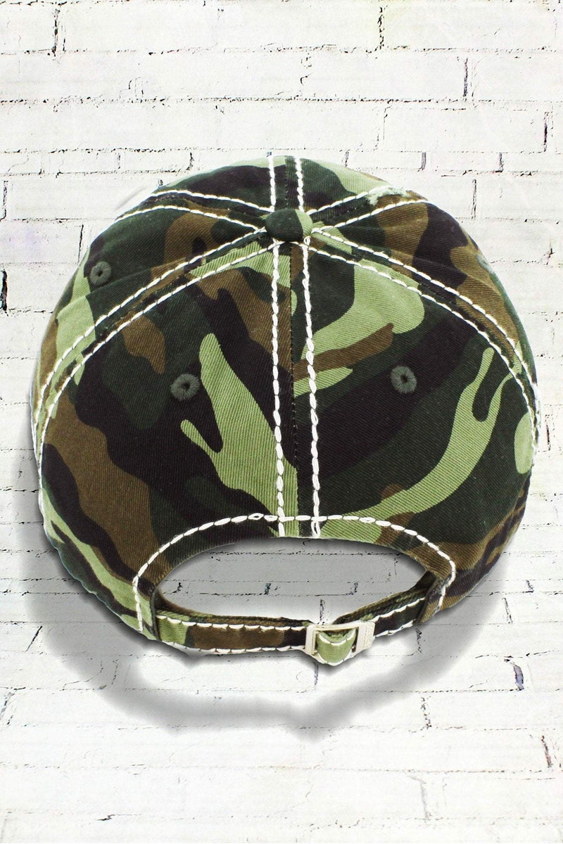 Distressed Camo 'Happy Camper' Cap
