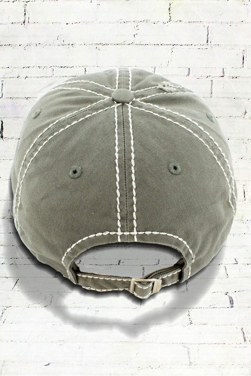Distressed Steel Gray 'Happy Camper' Cap