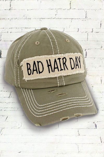 Distressed Khaki 'Bad Hair Day' Cap #KBV-1073-KHAKI