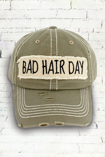 Distressed Khaki 'Bad Hair Day' Cap