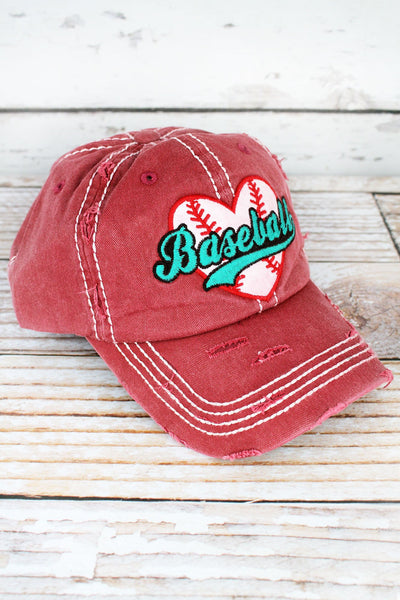 Distressed Brick Baseball Heart Cap