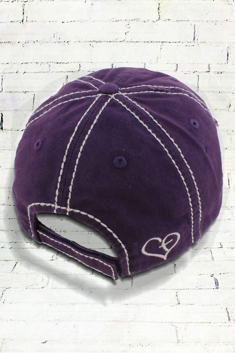 Distressed Purple and Leopard 'Blessed' Cap
