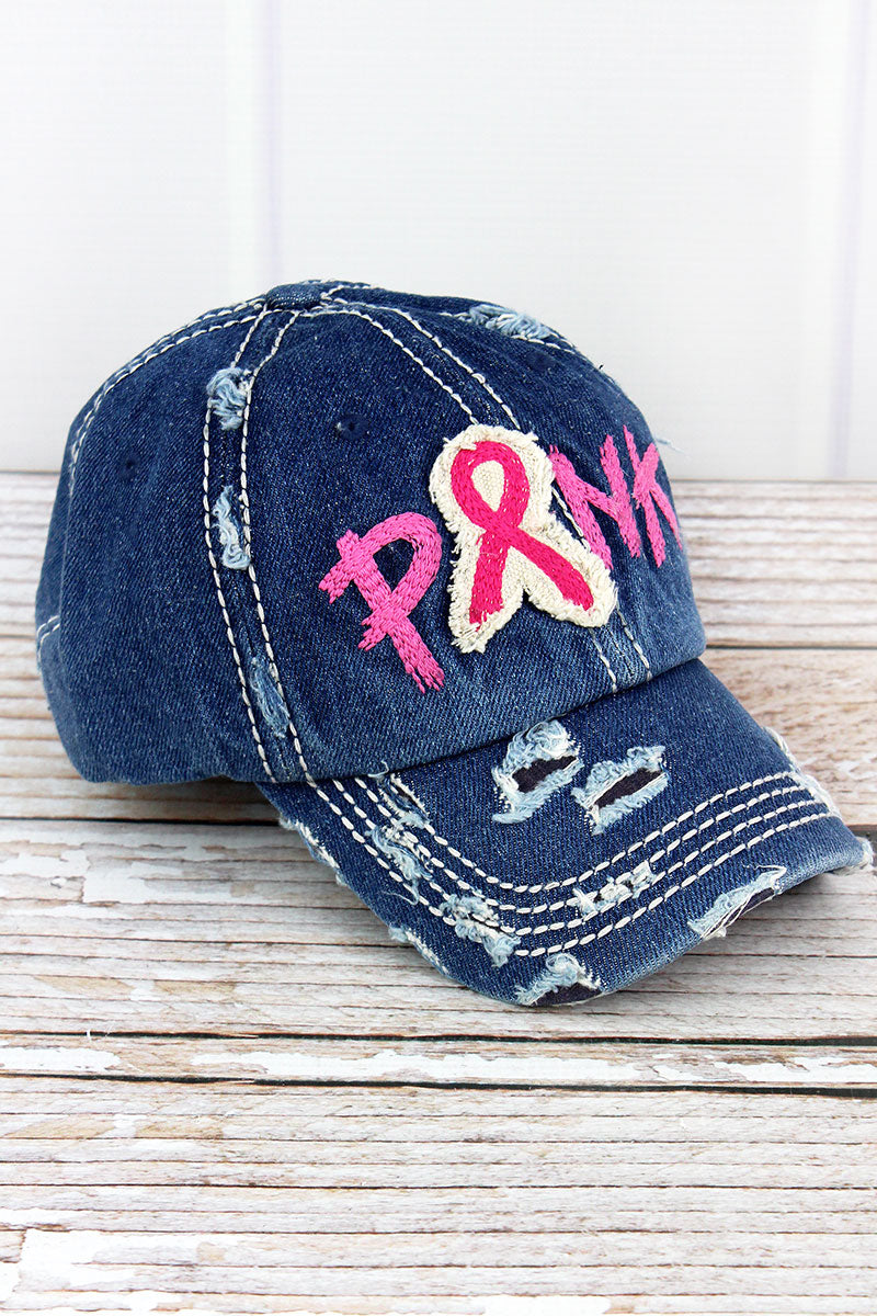 Distressed Medium Wash Denim with Embroidered 'Pink' Ribbon Cap