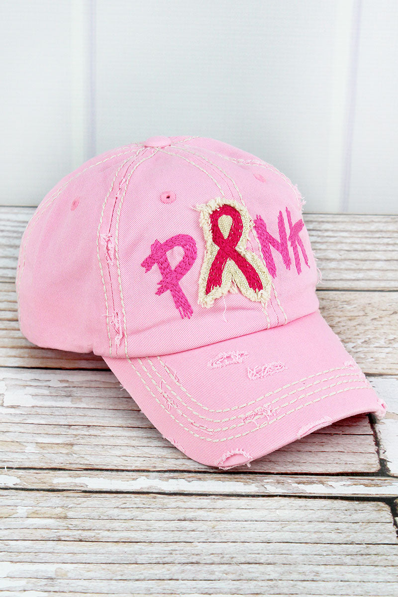 Distressed Pink with Embroidered 'Pink' Ribbon Cap