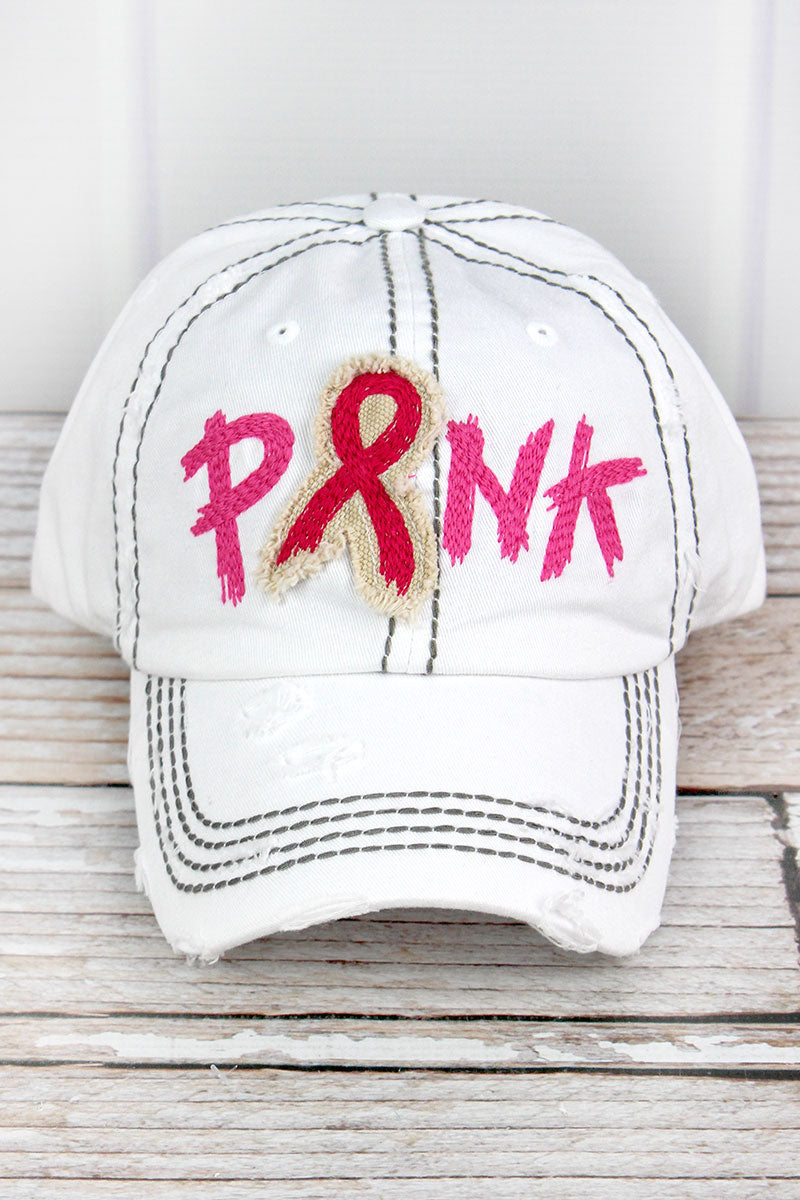 Distressed White with Embroidered 'Pink' Ribbon Cap