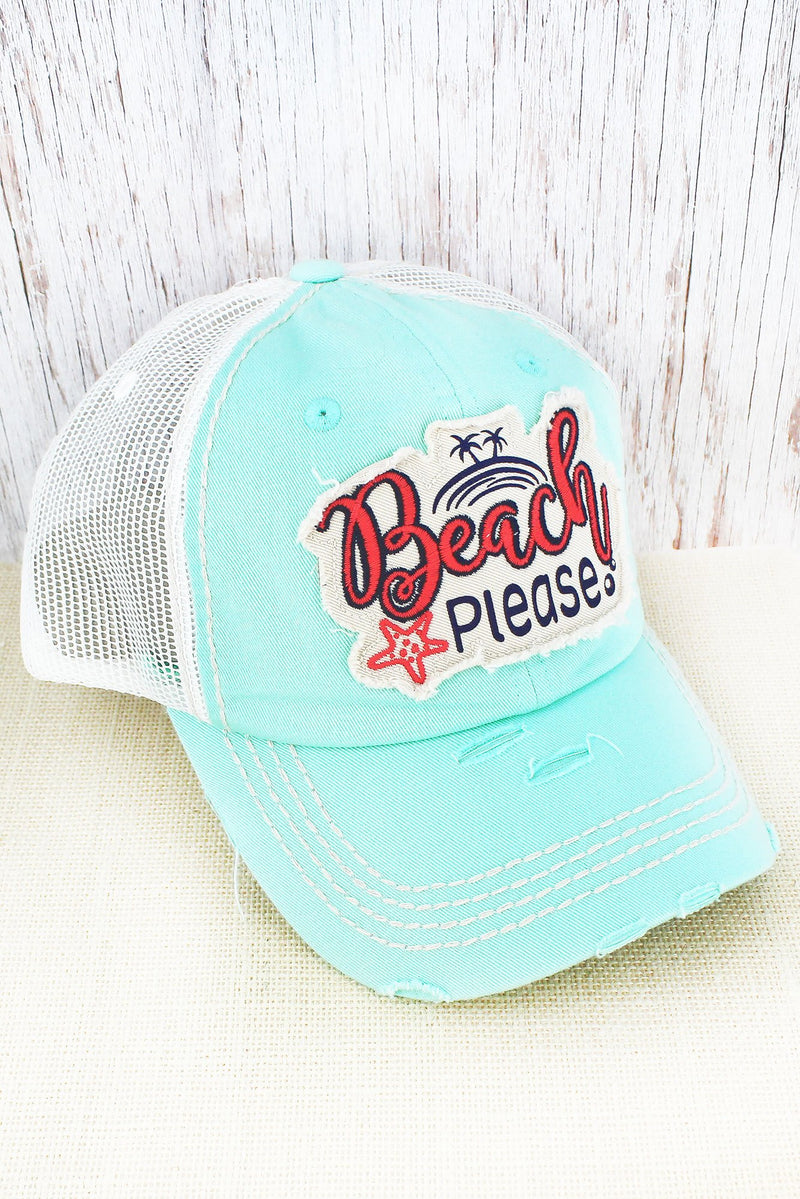 Distressed Mint Blue 'Beach Please' Mesh Cap