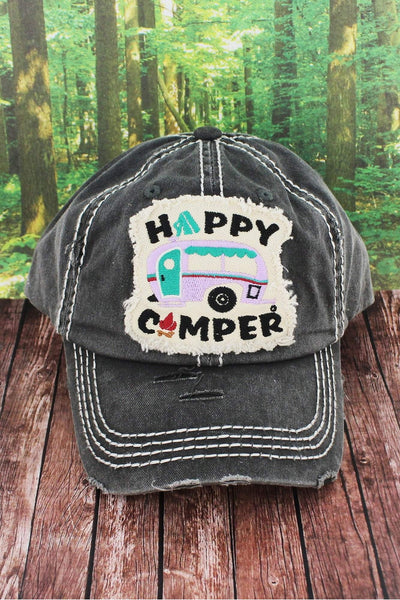 Distressed Dark Gray 'Happy Camper' Cap