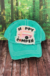 Distressed Turquoise 'Happy Camper' Cap