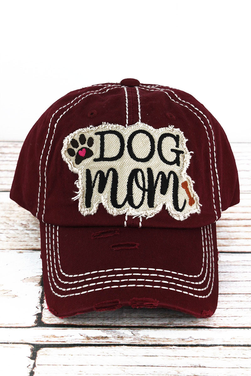 Distressed Burgundy 'Dog Mom' Cap