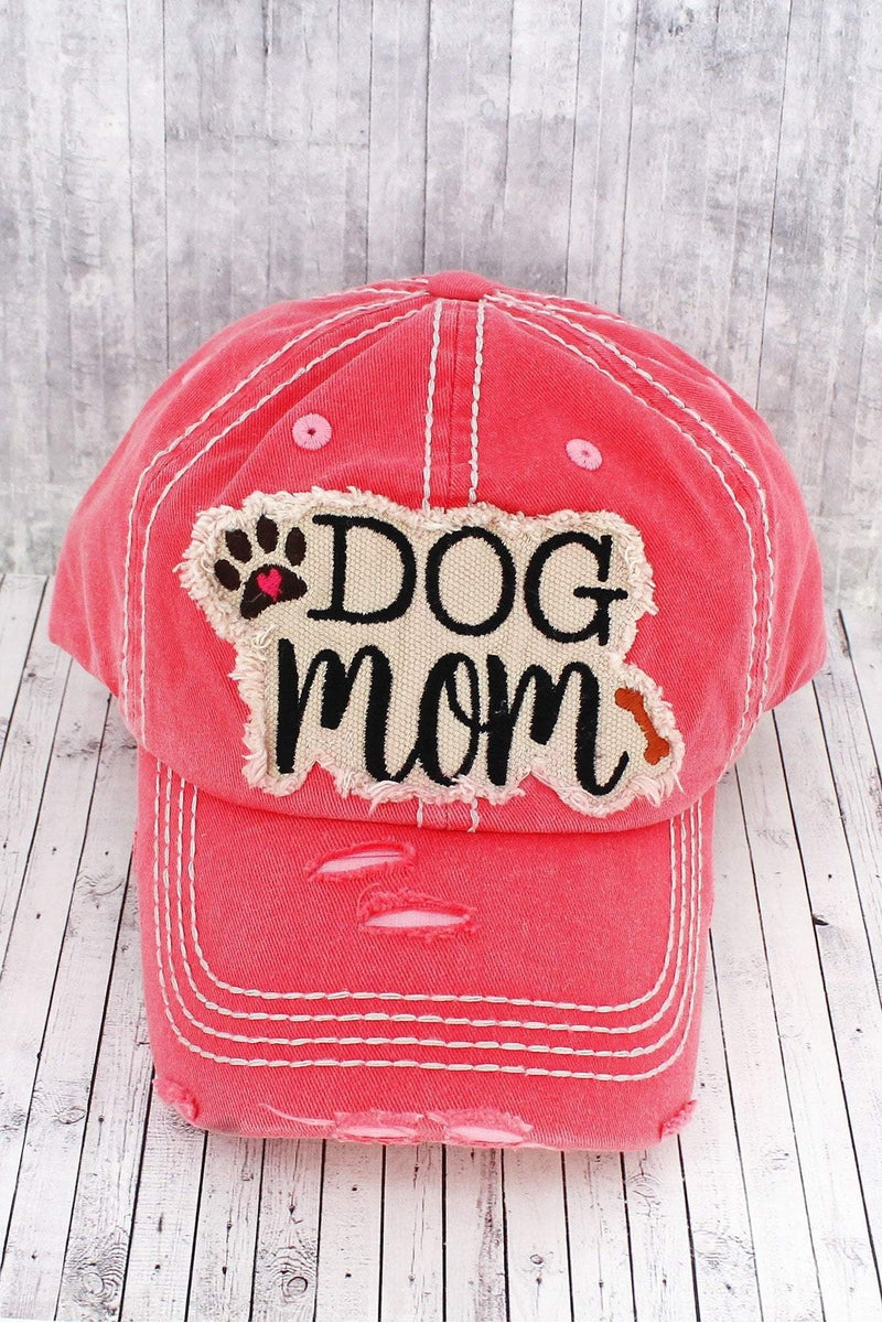 Distressed Salmon 'Dog Mom' Cap