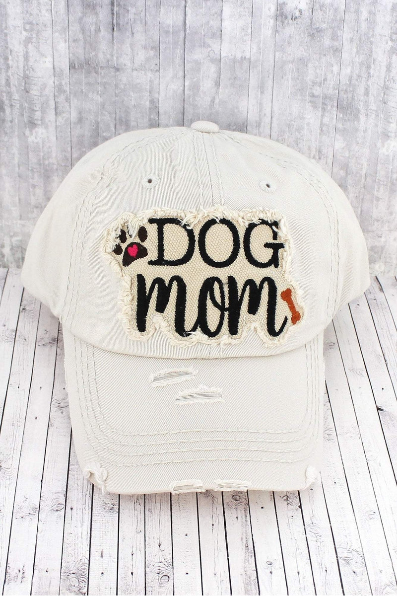 Distressed Stone 'Dog Mom' Cap