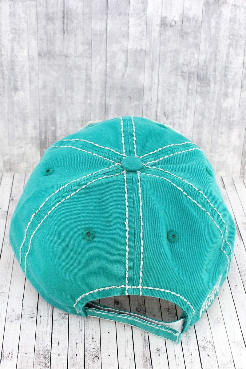Distressed Turquoise 'Dog Mom' Cap