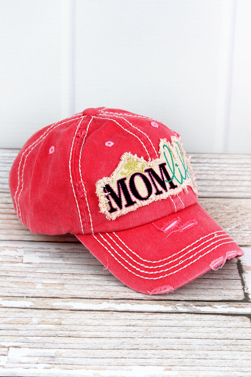 4244c51d3bf Distressed Salmon  Mom Life  Cap