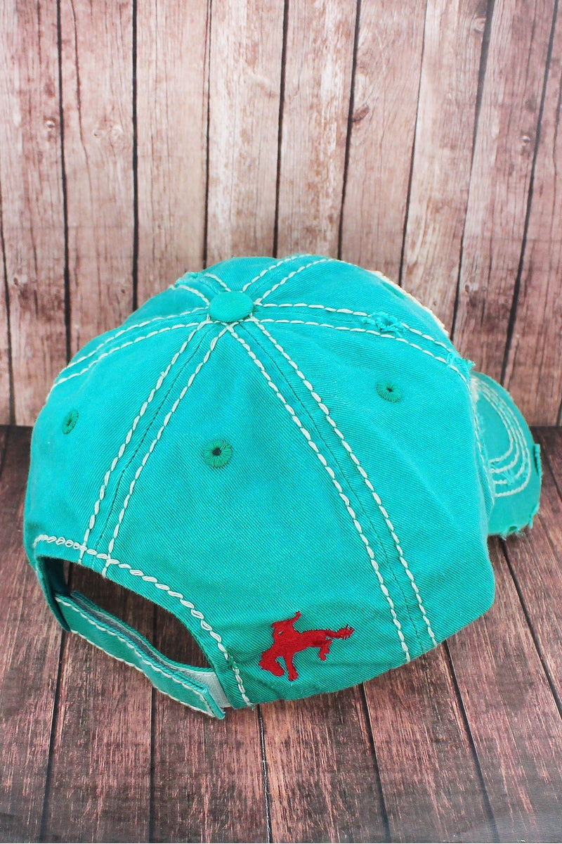 Distressed Turquoise 'This Ain't My First Rodeo' Cap