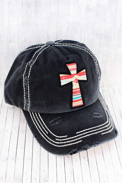 Distressed Black Serape Cross Cap