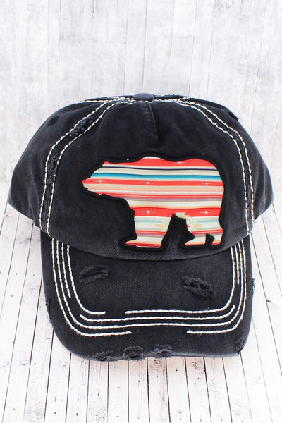 Distressed Black Serape Bear Cap