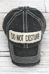 Distressed Black 'Do Not Disturb' Cap