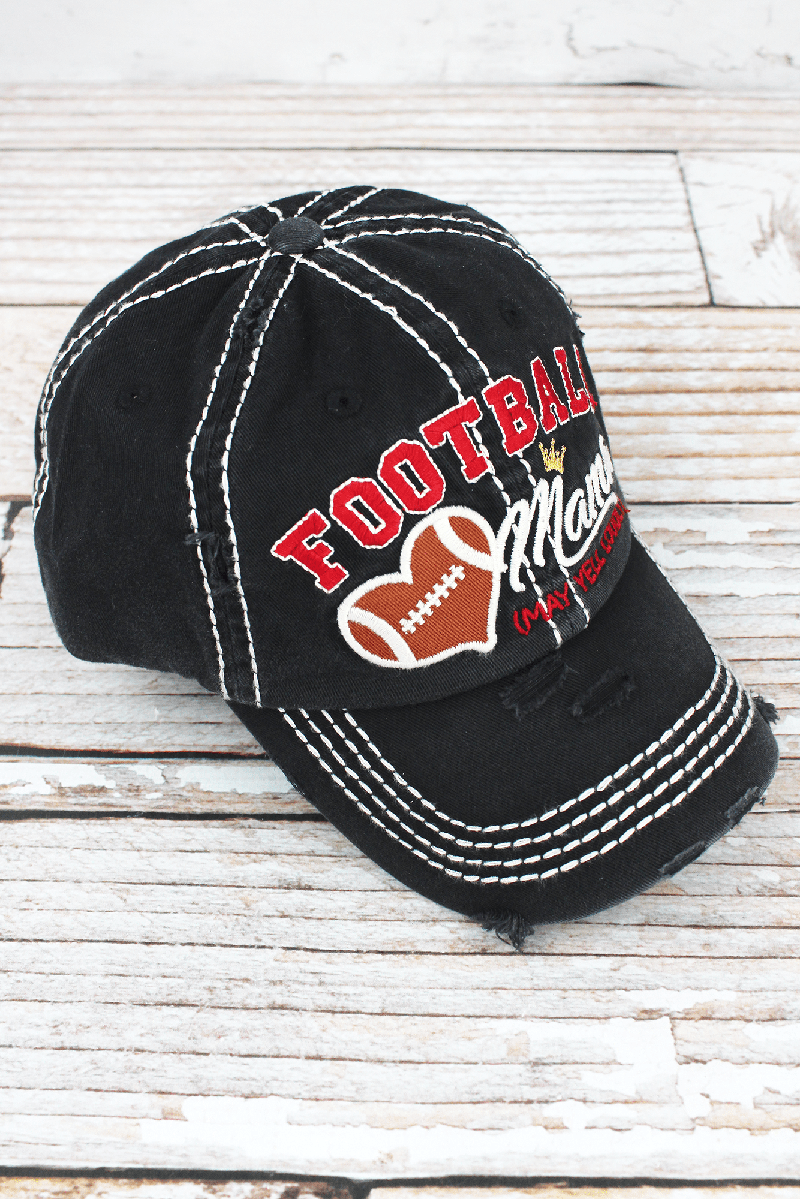 Distressed Black 'Football Mama (May Yell Loudly)' Cap