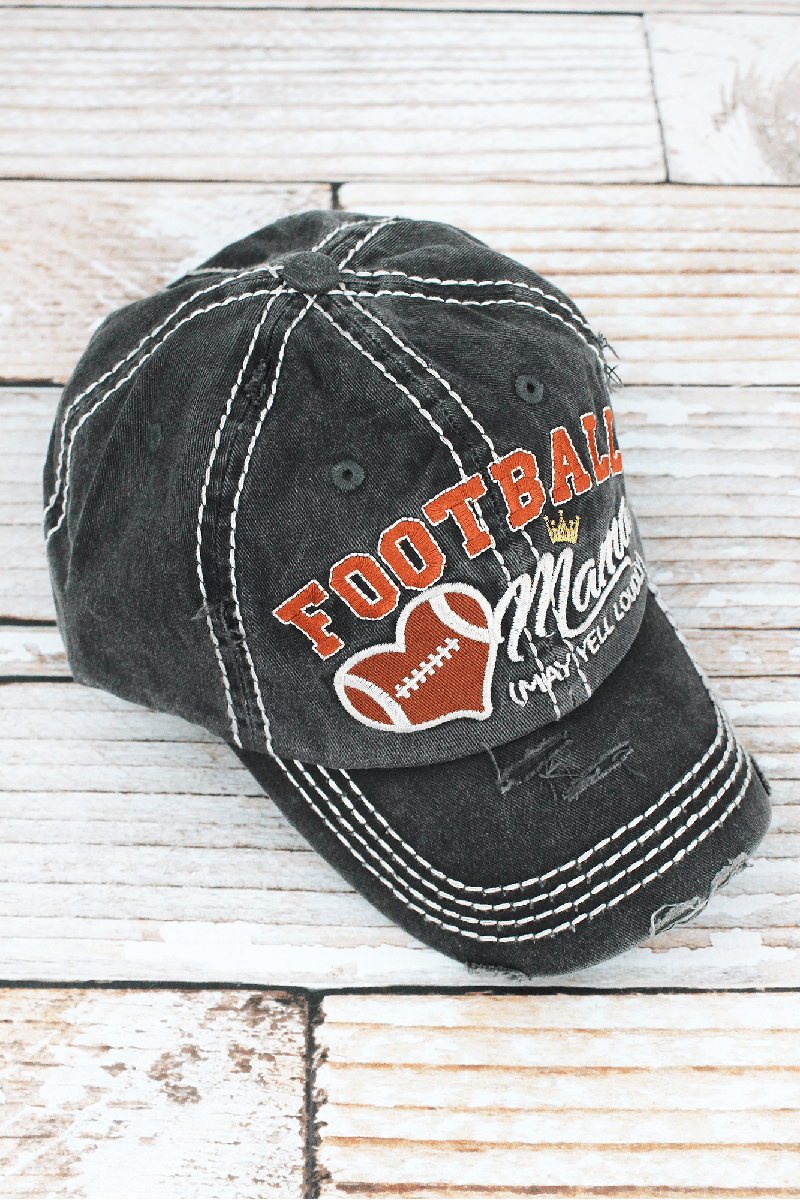 Distressed Dark Gray 'Football Mama (May Yell Loudly)' Cap